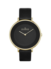 SKW2286 Ditte Large 36.50mm Black & Gold ladies watch with leather strap