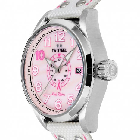 Ladies Sports Watch with Extra Pink Textile Over Leather Strap 秋冬 コレクション TW Steel
